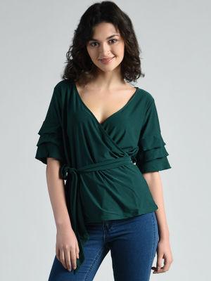 Aara Shirts Tops and Crop Tops : Buy Aara Teal Polyester ...