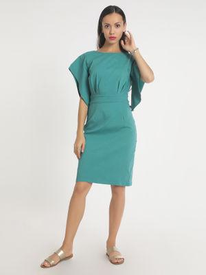 Aara Dresses : Buy Aara Teal Flare Sleeves Dress Online ...