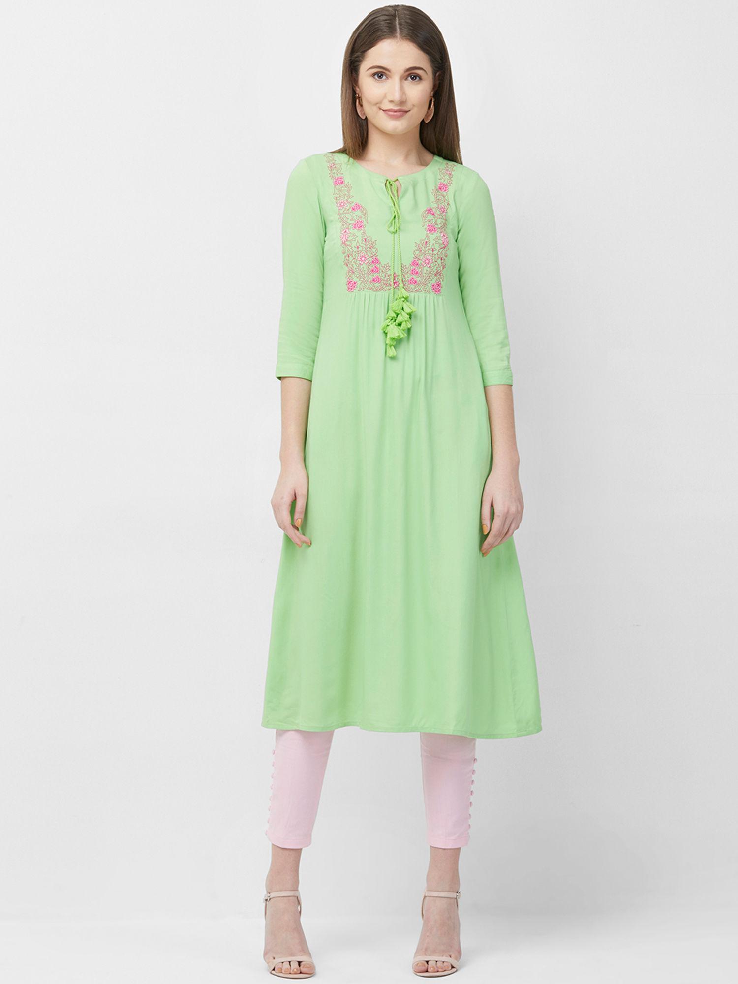 Ladies Kurti Designer Ethnic Straight Rayon Kurta Front Casual Party Dress Tunic