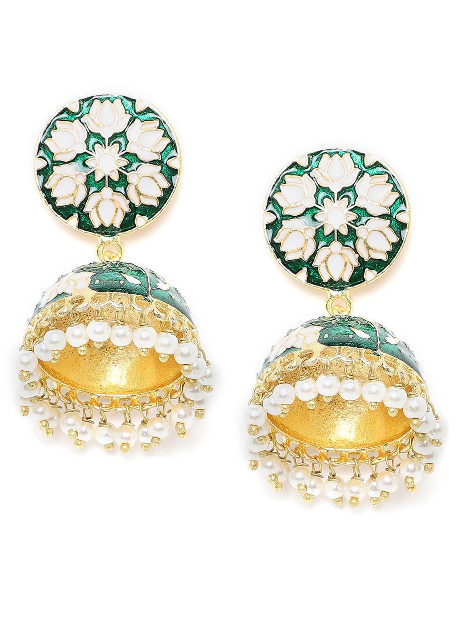 zerokaata/Fashion Jewellery Orange and White Meenakari Jhumki Earrings for Women /& Girls