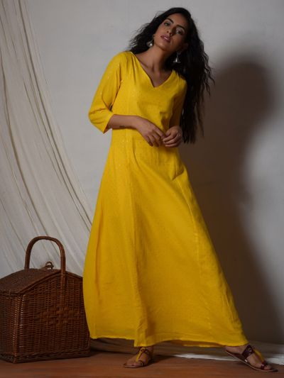 3a2b58576e trueBrowns Kurti/Tunic : Buy trueBrowns Yellow Bell Sleeve Kurta ...