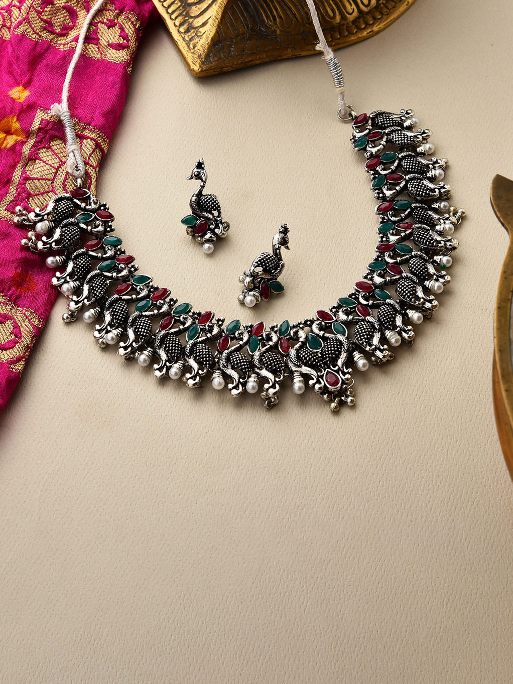 Pretty as a Peacock fuchsia rhinestone crystal necklace and earring set