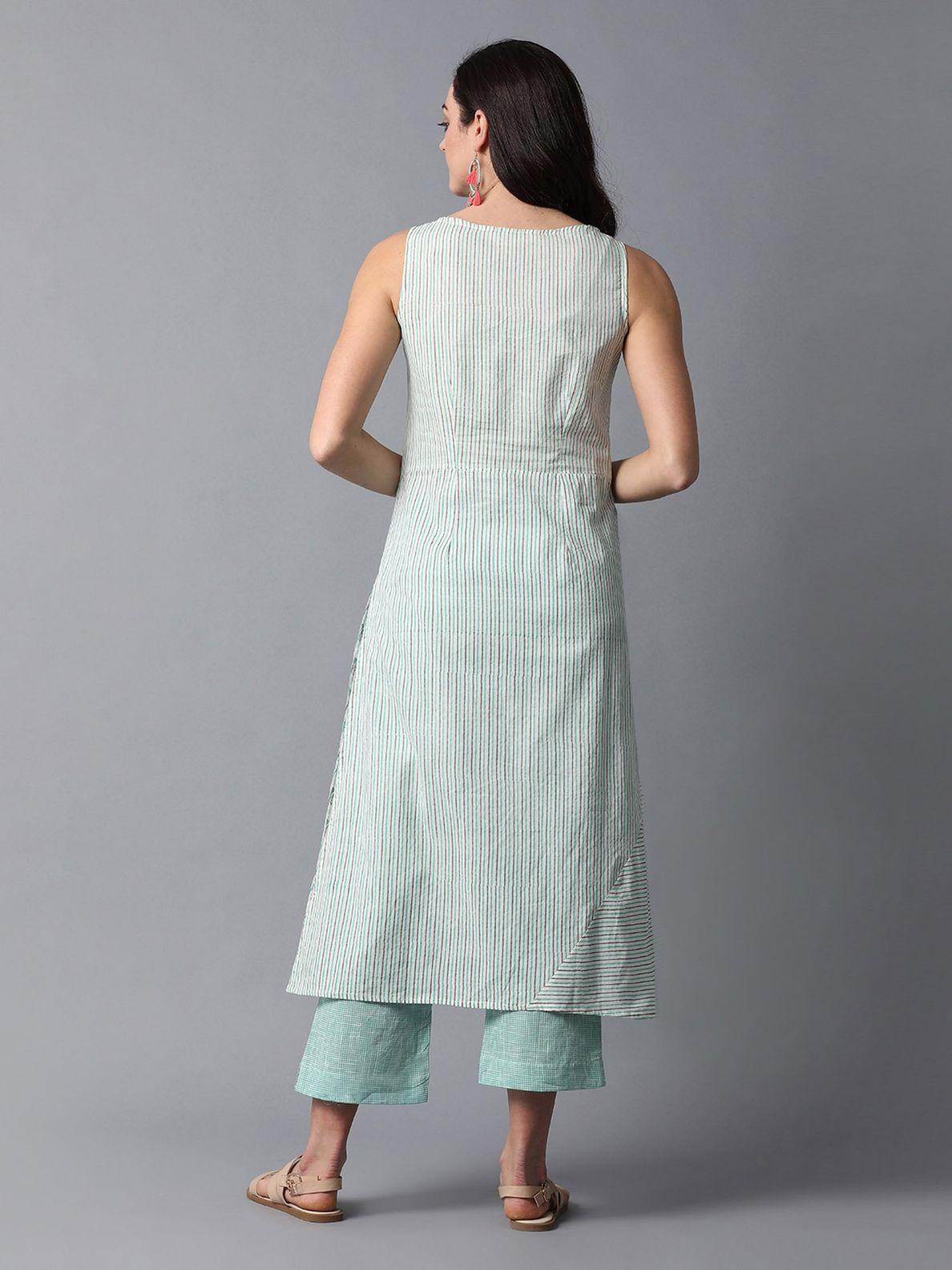 Indian ethnic long kurta with pocket in blue colour with hand block printed indigo yoke