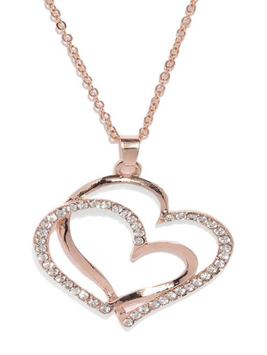 SILVER COLOURED PINK JEWELLED HEART SHAPE PENDANT MORE NECKLACES AVAILABLE N3