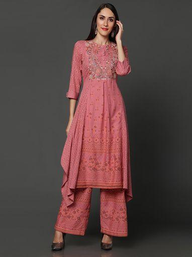 Details about  /Women Dupatta Pink Solid Kurta Set Party Wear Silk Palazzo Embroidery Work