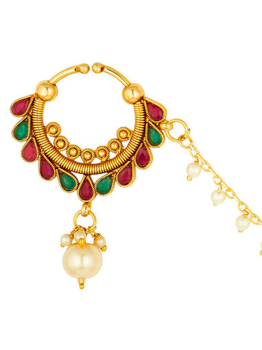 Peora Nose Rings Buy Peora Traditional Gold Plated Gorgeous Nose