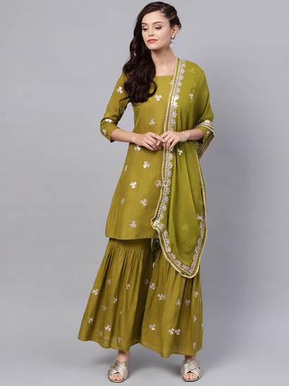 Party Waer Indian Dress Gota Patti Rayon Kurti with Gold print Sharara in Rayon For Girls and Women/'s Indian Dresses