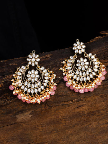Traditional Indian Jewelry Zaveri Pearls High Quality Gold Plated Kundan /& Green Bead Crescent Shape Pearls Dropping Chandelier Earrings