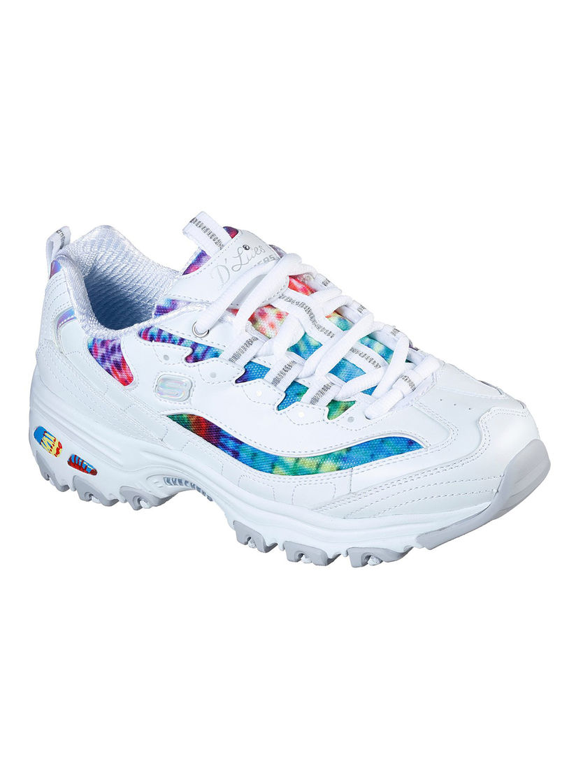 SKECHERS White Printed Running Shoes