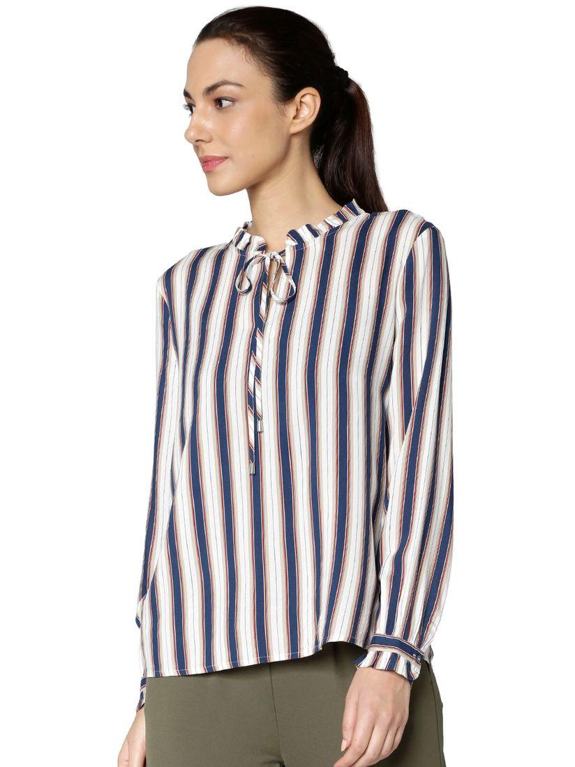 einzigartiges Design attraktive Designs hochwertiges Design ONLY Shirts Tops and Crop Tops : Buy ONLY White & Blue Striped Top Online |  Nykaa Fashion.