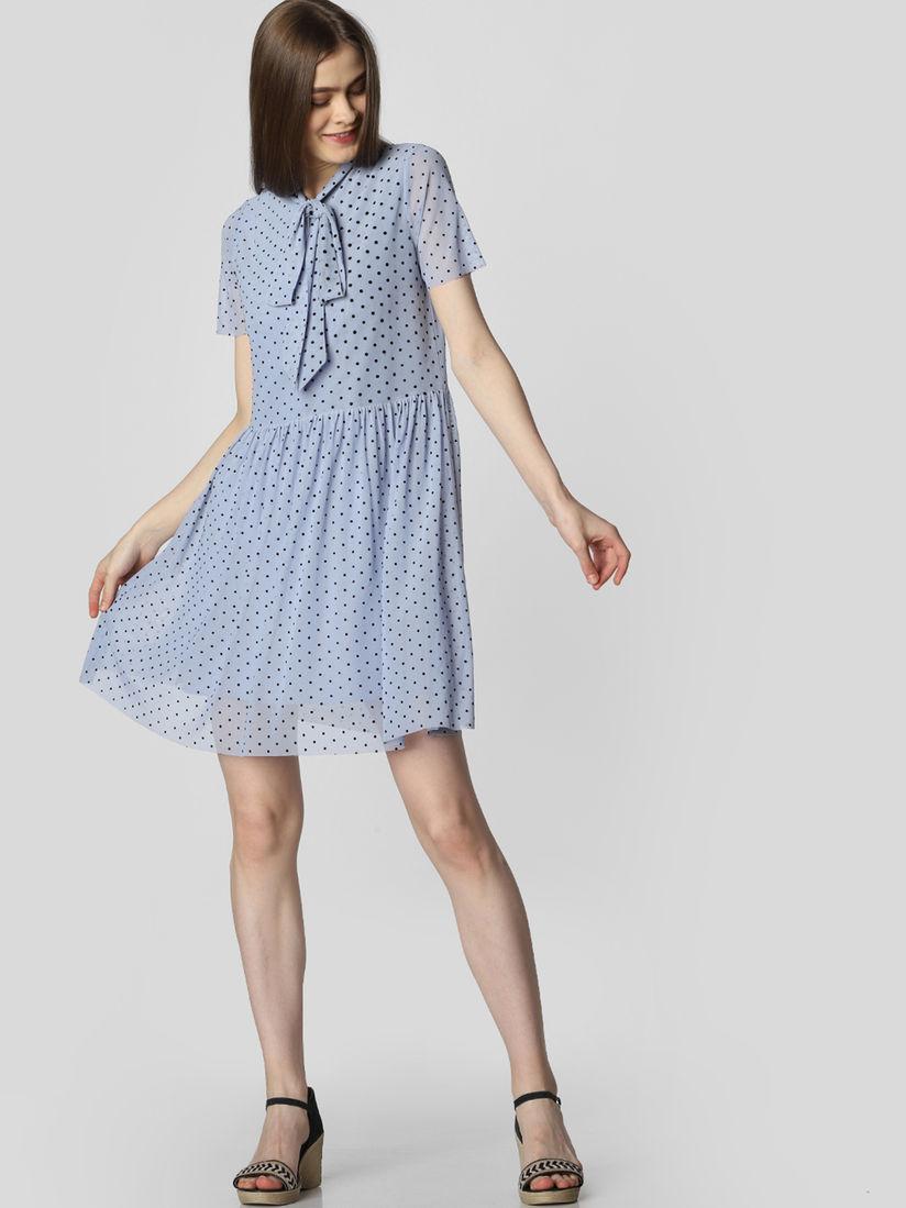 vero moda blue polka dots short dress