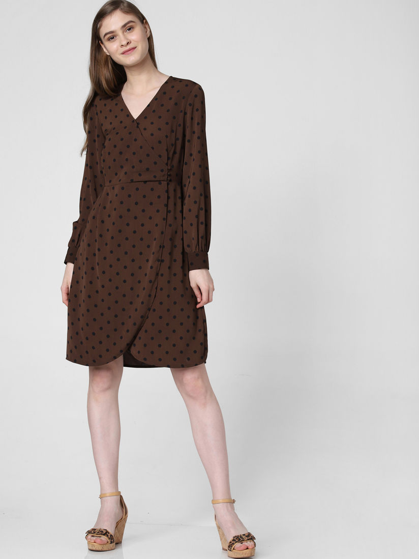 vero moda brown coffee bean dress