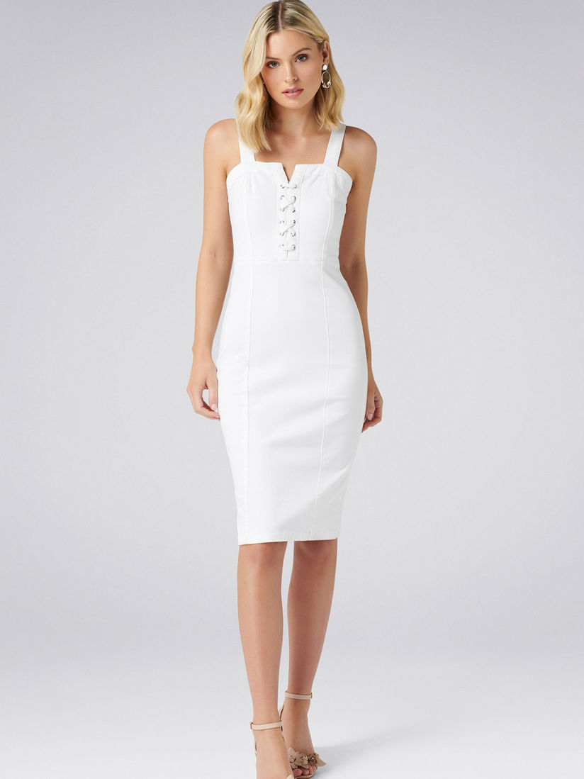 Forever New Dresses Buy Forever New White Abbie Lace Up Denim Dress Online Nykaa Fashion