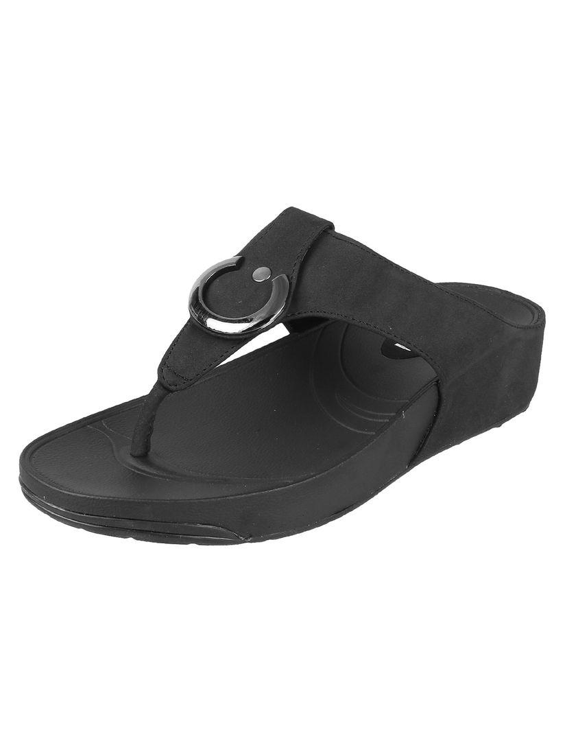 Mochi Black Casual Comfort Flip Flops