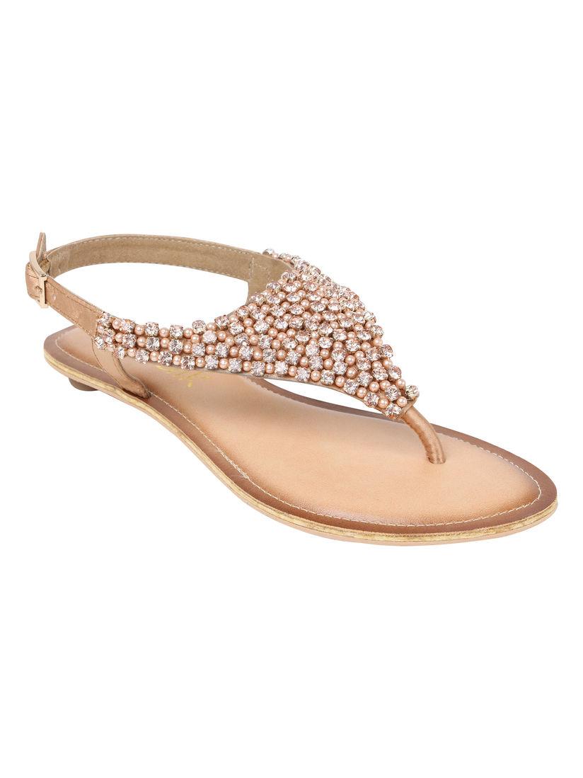 Catwalk Gold Embellished Sandals Online
