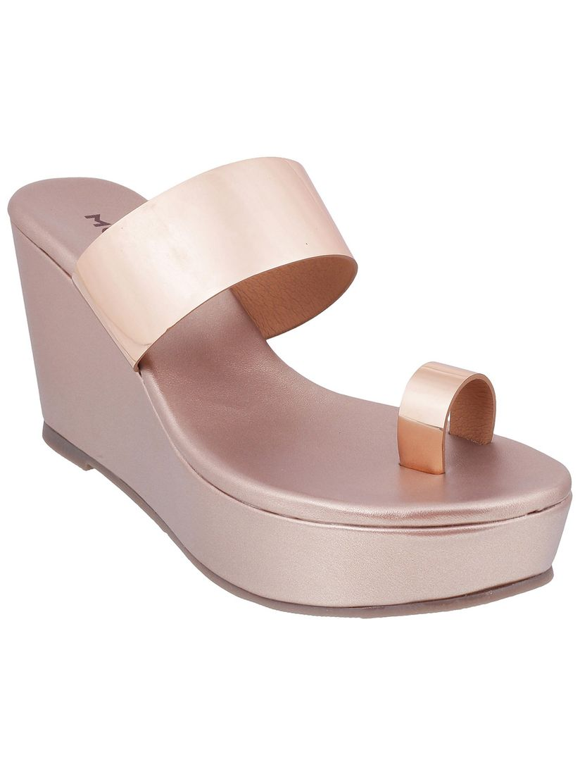 Mochi Rose Gold One Toe Casual Wedges