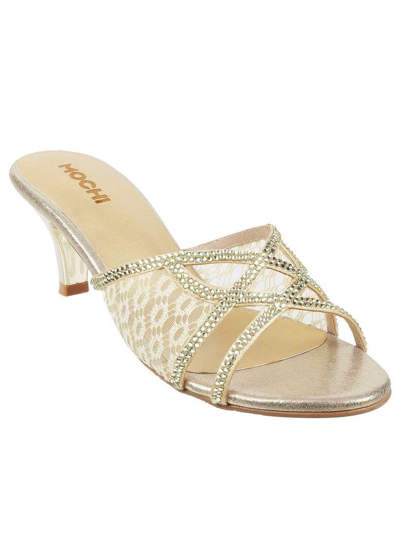 Buy Mochi Gold Wedding Patterned Heels
