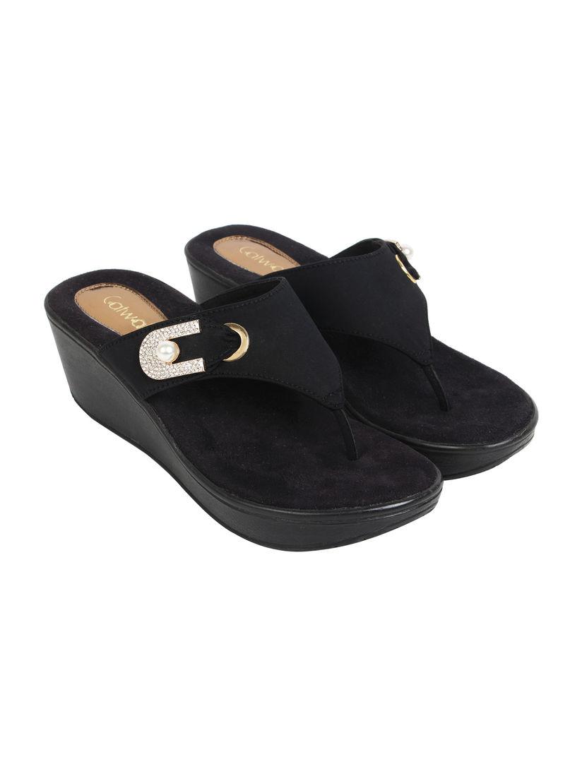 Buy Catwalk Black Embellished Wedges