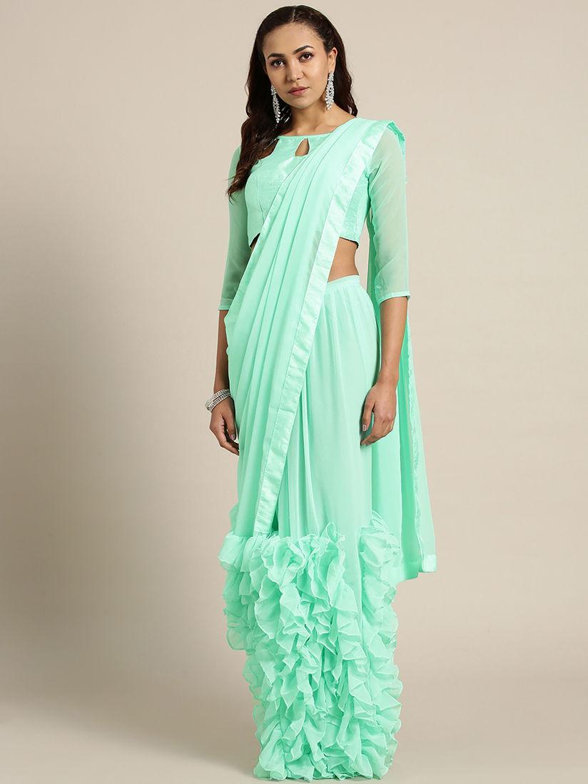 Details about  /Frill Saree Sari Blouse Women Pakistani Georgette Party Wear Ruffle Work Bridal