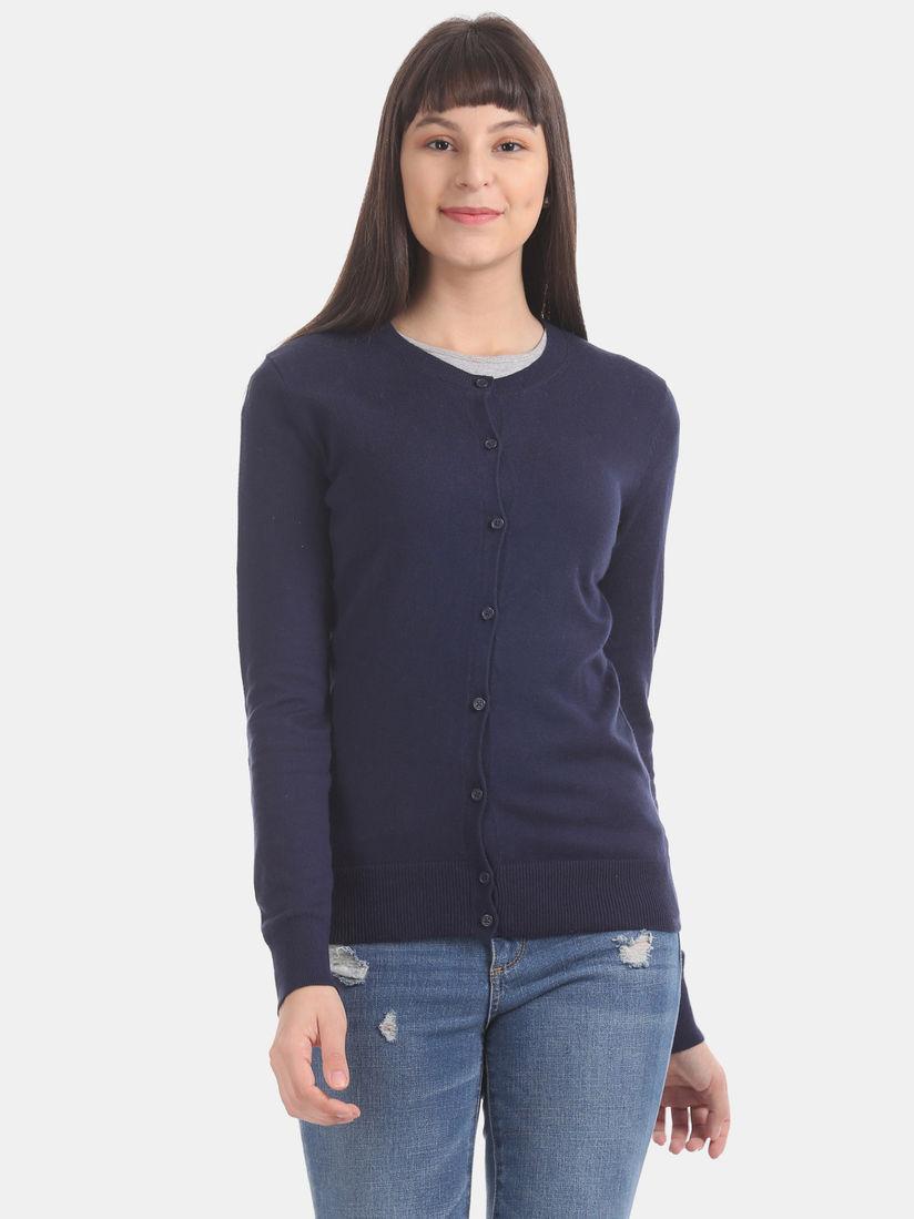 GAP Navy Blue Solid Cardigan