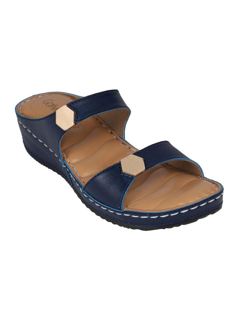 Buy Catwalk Navy Blue Solid Flatforms