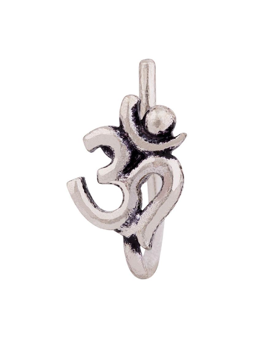 Voylla Nose Rings Buy Voylla Silver Moksh Om Nose Ring Online