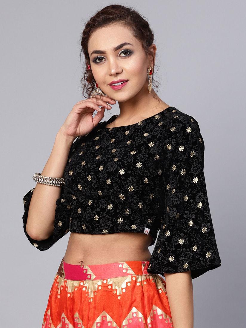 Juniper Blouse Buy Juniper Black Velvet Printed Blouse Online Nykaa Fashion