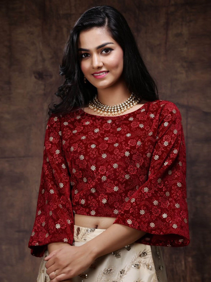Juniper Blouse Buy Juniper Velvet Maroon Printed Fusion Stitched Blouse Online Nykaa Fashion