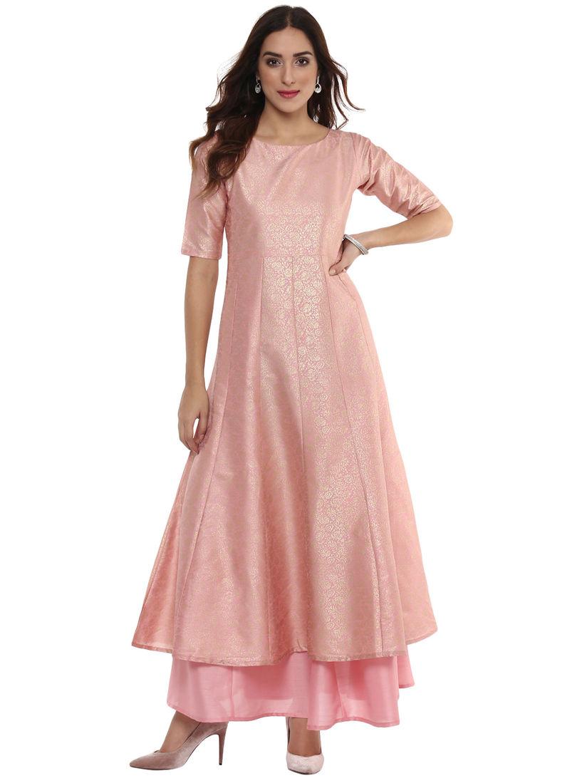 Ahalyaa Ethnic Dresses : Buy Ahalyaa Pink Ahalyaa Brocade Print Anarkali  Dress Online | Nykaa Fashion.