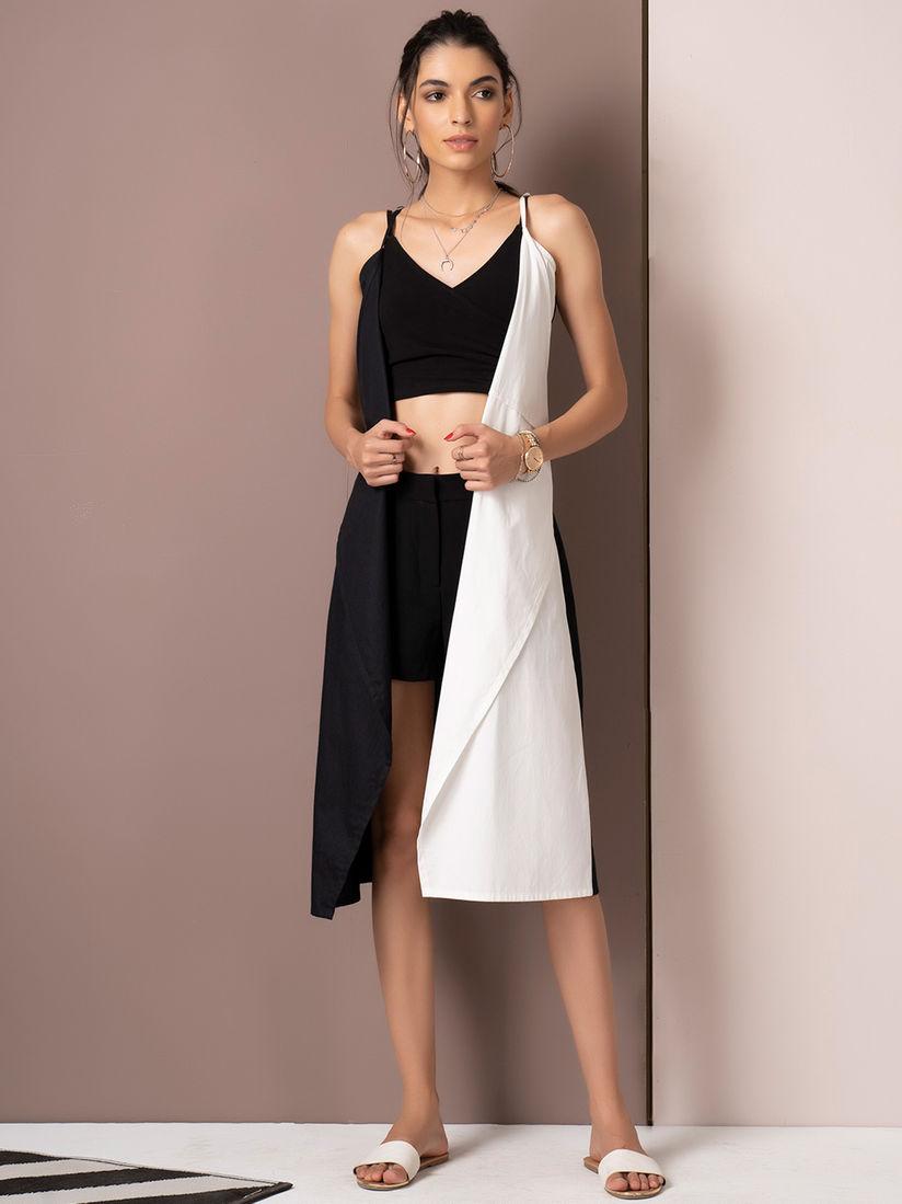 White Half-and-Half Dress