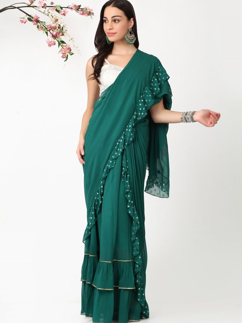 Alaya By Stage3 Saree Buy Alaya By Stage3 Emerald Drape Skirt Sari Without Blouse Online Nykaa Fashion