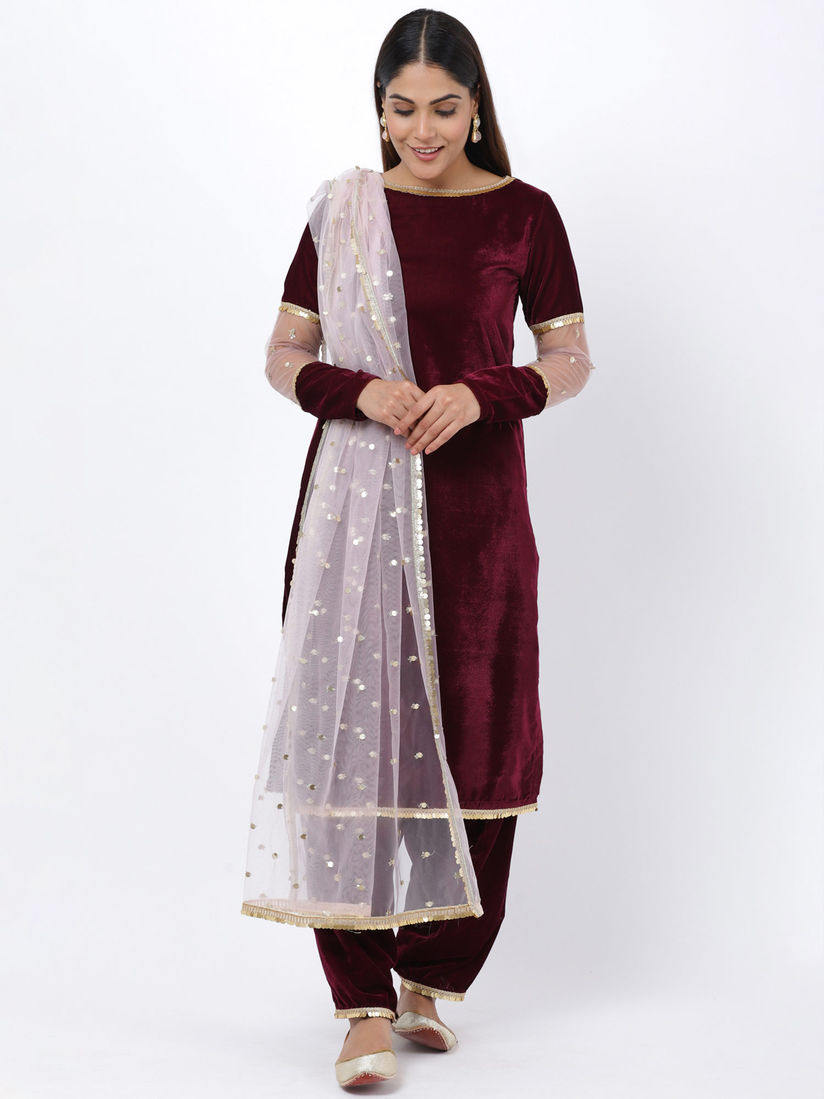 Anokherang Salwar Suits And Sets Buy Wine Sequenced Sleeves Velvet Kurti With Salwar And Blush Pink Dupatta Set Of 3 Online Nykaa Fashion