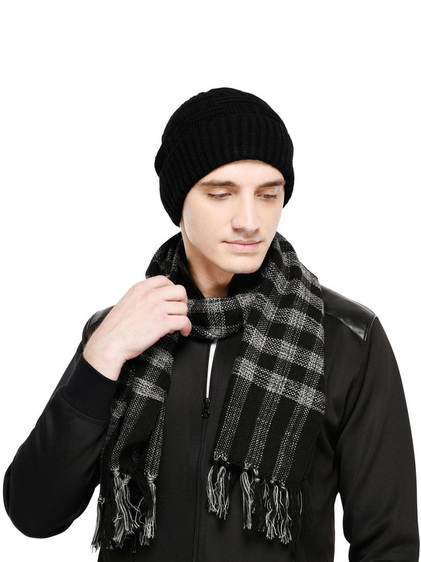 Bharatasya Scarves And Gloves Buy Bharatasya Soft Woollen Knitted Handloom Muffler Cap In Black Set Of 2 Online Nykaa Fashion