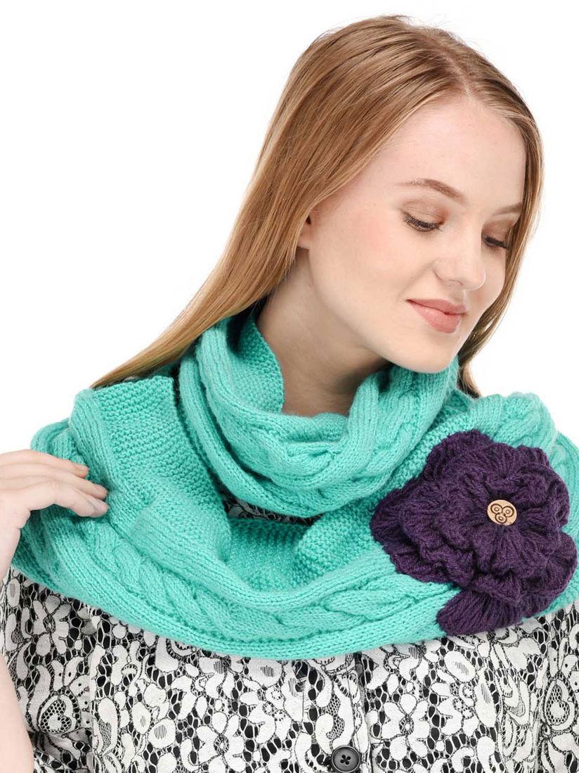 Bharatasya Muffler Buy Bharatasya Blue Handknitted Loop Muffler With Flower Online Nykaa Fashion
