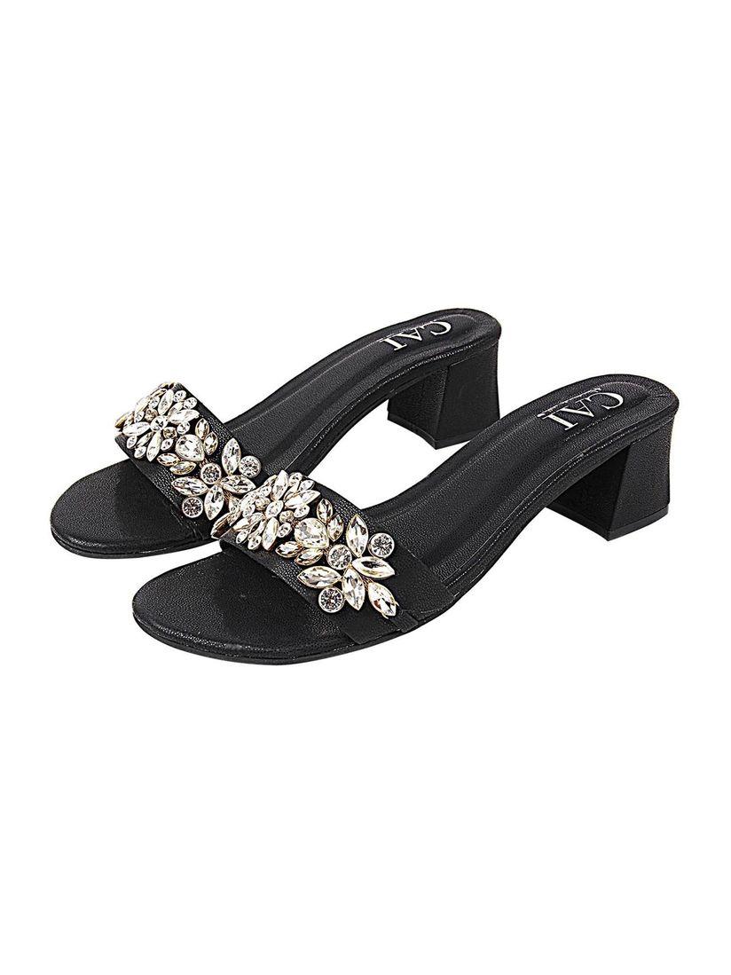 CAI STORE Black Embellished Heels
