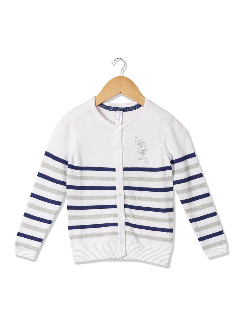 Striped Rib Trim Cardigan Sweater U.S Polo Assn