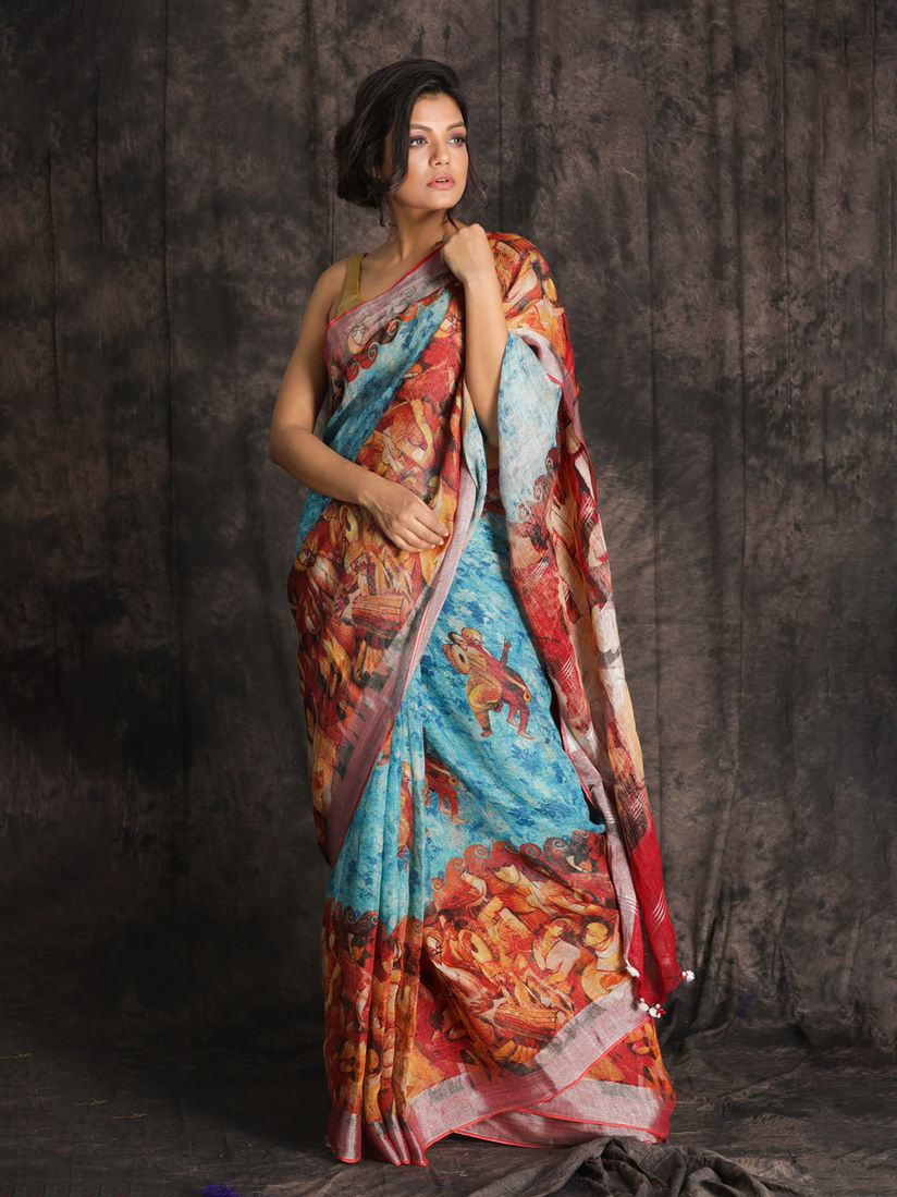 CHARUKRITI Sky Blue Printed Linen Saree With Border With Unstitched Blouse