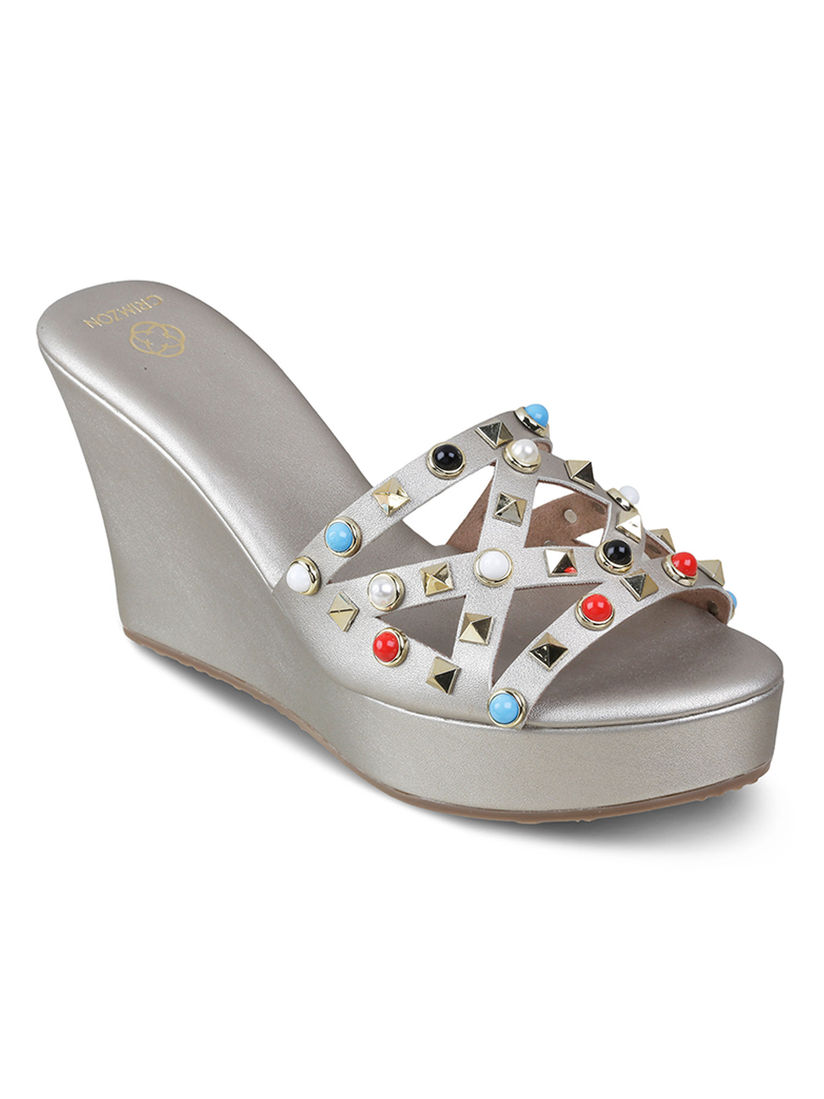 Crimzon Wedges Buy Crimzon Margarita Patterned Silver Wedges 36 Online Nykaa Fashion