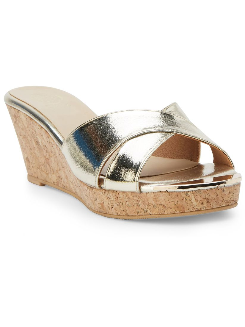 gold open toe wedges