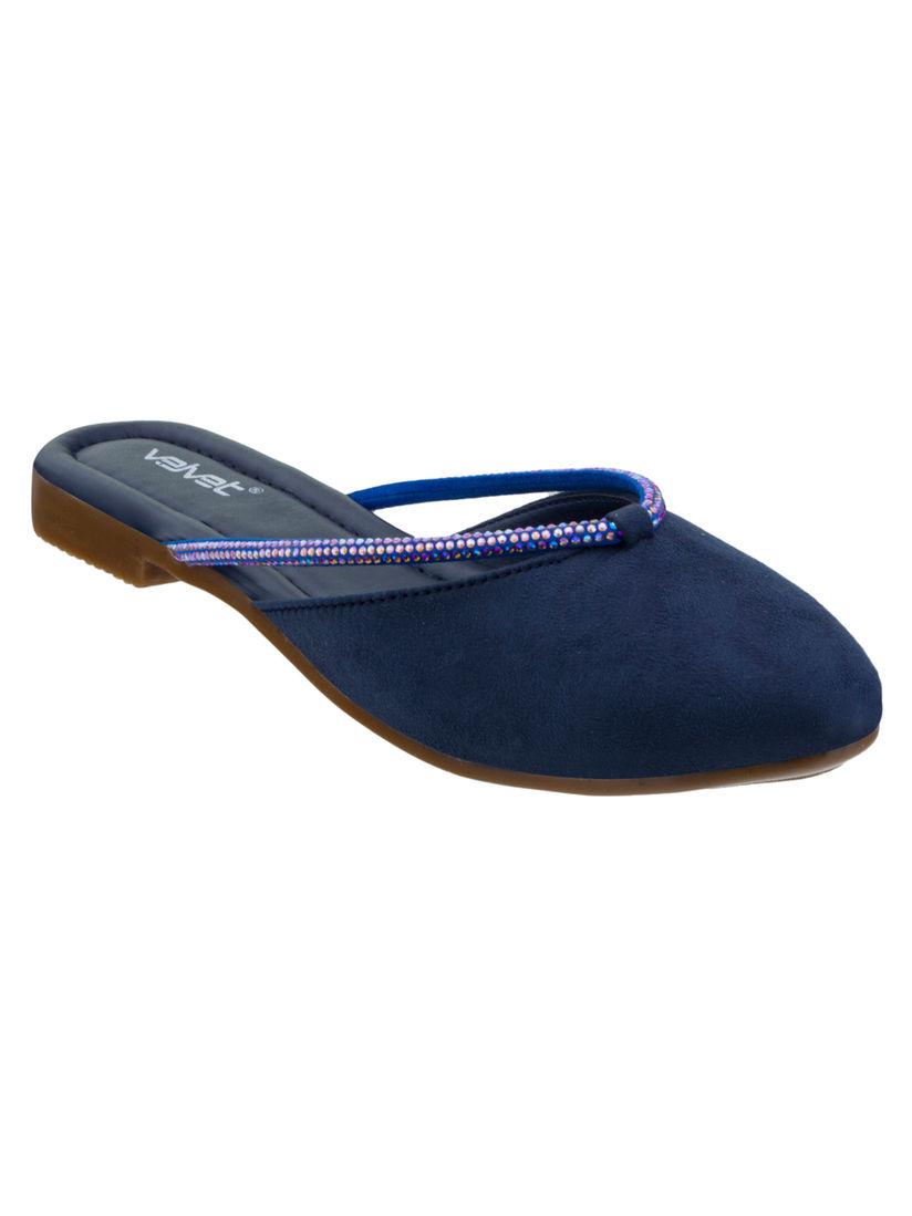 Buy Velvet Shoes Navy Blue Embellished