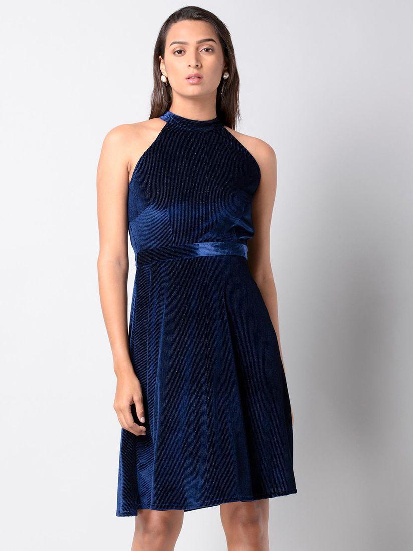 Faballey Dresses Buy Faballey Navy Blue Halter Velvet Midi Dress Online Nykaa Fashion