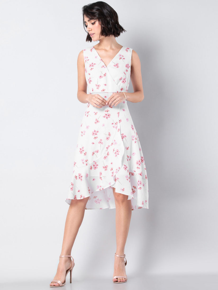 Faballey Dresses Buy Faballey White Floral Ruffled Knee Length Dress Online Nykaa Fashion