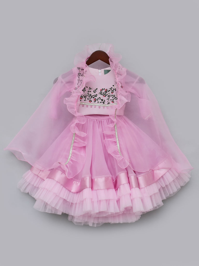 Fayon Kids Kids Lehanga Set Buy Fayon Kids Baby Pink Embroidered Choli With Cape And Organza Lehenga Set Of 3 Online Nykaa Fashion