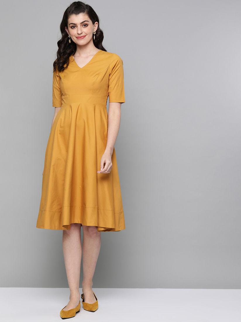 Femella Mustard Gathered Fit & Flare Knee Length Dress
