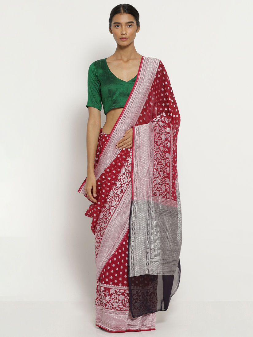 Via East Red Handloom Pure Silk Georgette Banarasi Saree With All Over Silver Zari Motifs And Blouse Piece
