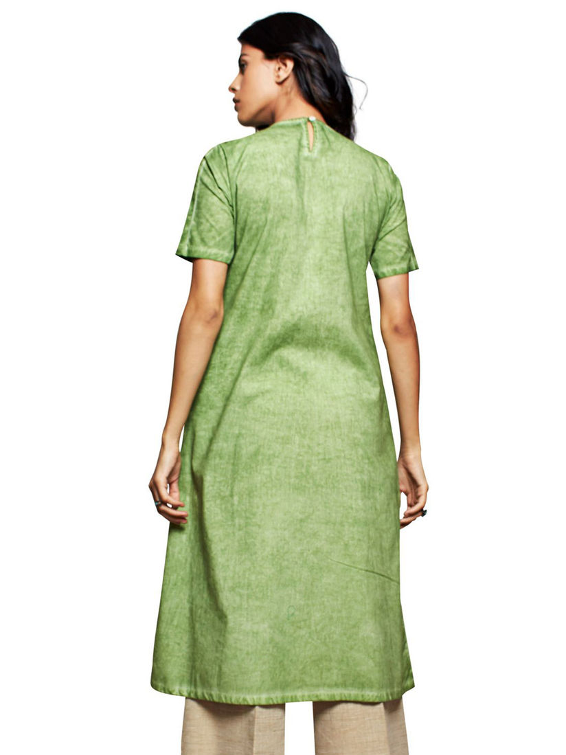 Short Sleeves Kurti Women Ethnic Green Colour Solid Shirt Collar Straight Kurta