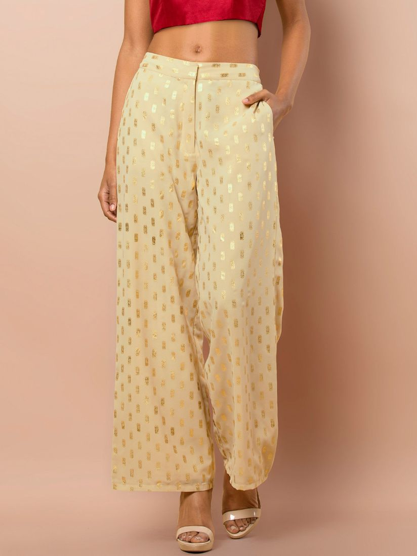 get online latest design best website Indya Palazzos : Buy Indya Beige Foil Georgette Palazzo Pants ...