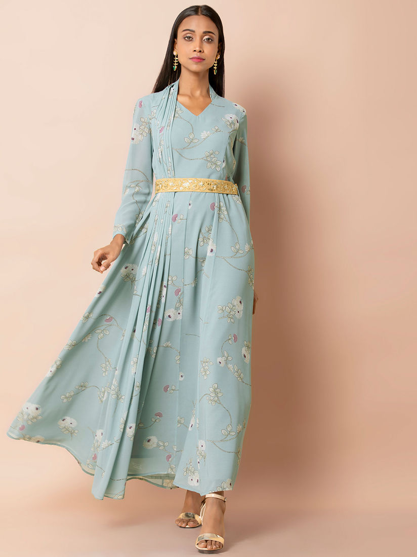 Indya Ethnic Dresses : Buy Indya Blue Floral Dress With Attached Pleated  Dupatta Online   Nykaa Fashion.