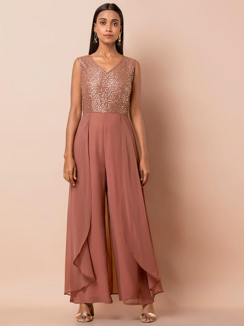 Indya Jumpsuits : Buy Indya Rose Gold Embellished Layered Jumpsuit Online    Nykaa Fashion.