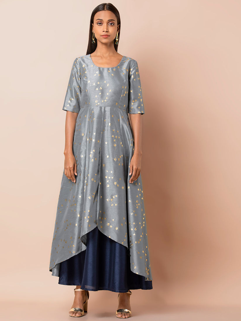 Indya Ethnic Dresses : Indya Grey Foil Layered High Low Double Layer Tunic  Online   Nykaa Fashion
